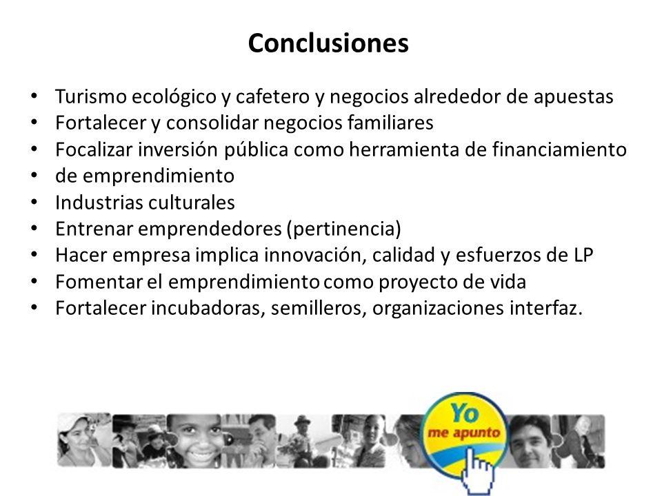 Conclusiones Turismo ecológico y cafetero y negocios alrededor de apuestas. Fortalecer y consolidar negocios familiares.