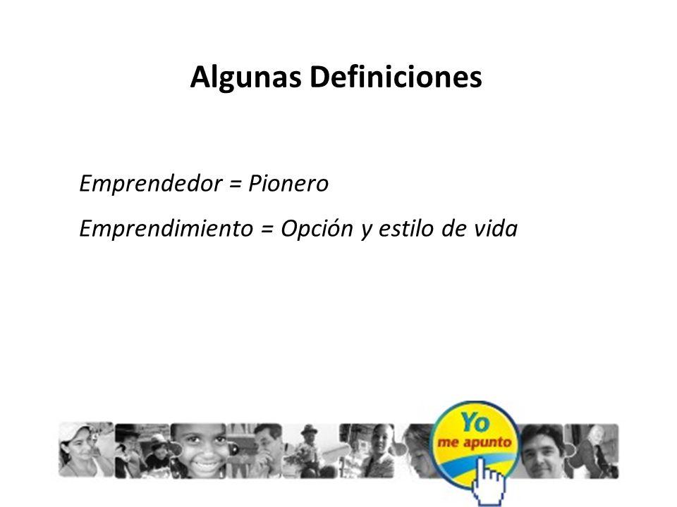 Algunas Definiciones Emprendedor = Pionero