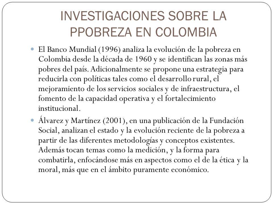 INVESTIGACIONES SOBRE LA PPOBREZA EN COLOMBIA