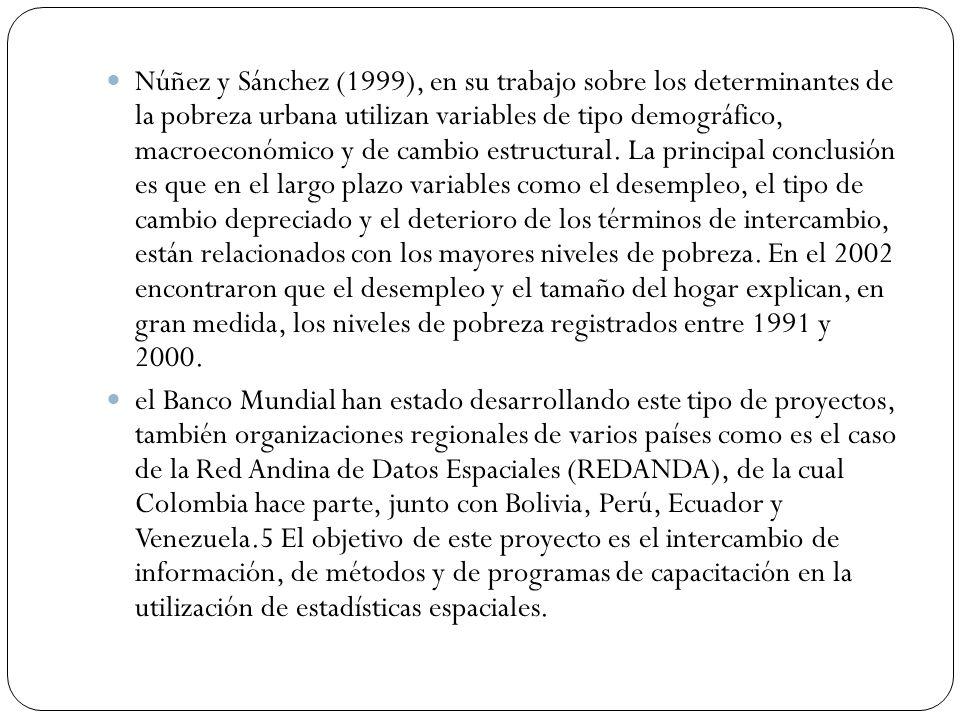 Núñez y Sánchez (1999), en su trabajo sobre los determinantes de la pobreza urbana utilizan variables de tipo demográfico, macroeconómico y de cambio estructural. La principal conclusión es que en el largo plazo variables como el desempleo, el tipo de cambio depreciado y el deterioro de los términos de intercambio, están relacionados con los mayores niveles de pobreza. En el 2002 encontraron que el desempleo y el tamaño del hogar explican, en gran medida, los niveles de pobreza registrados entre 1991 y 2000.