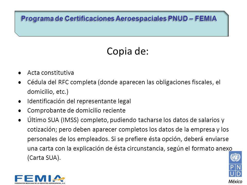 Copia de: Programa de Certificaciones Aeroespaciales PNUD – FEMIA