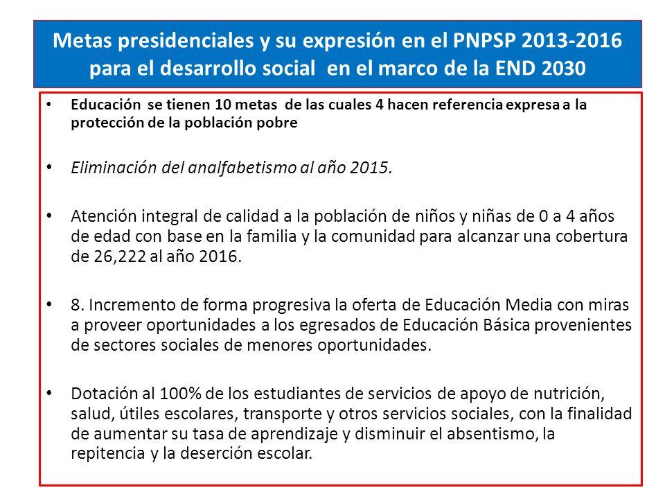 Metas presidenciales y su expresión en el PNPSP 2013-2016 para el desarrollo social en el marco de la END 2030