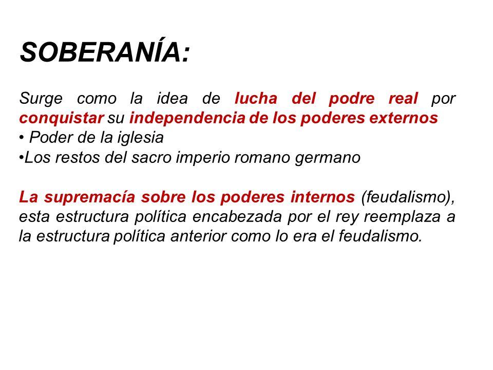 SOBERANÍA: Surge como la idea de lucha del podre real por conquistar su independencia de los poderes externos.