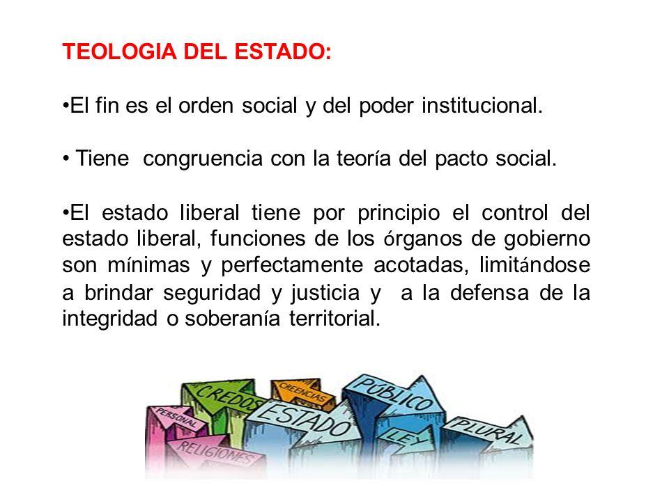 TEOLOGIA DEL ESTADO: El fin es el orden social y del poder institucional. Tiene congruencia con la teoría del pacto social.