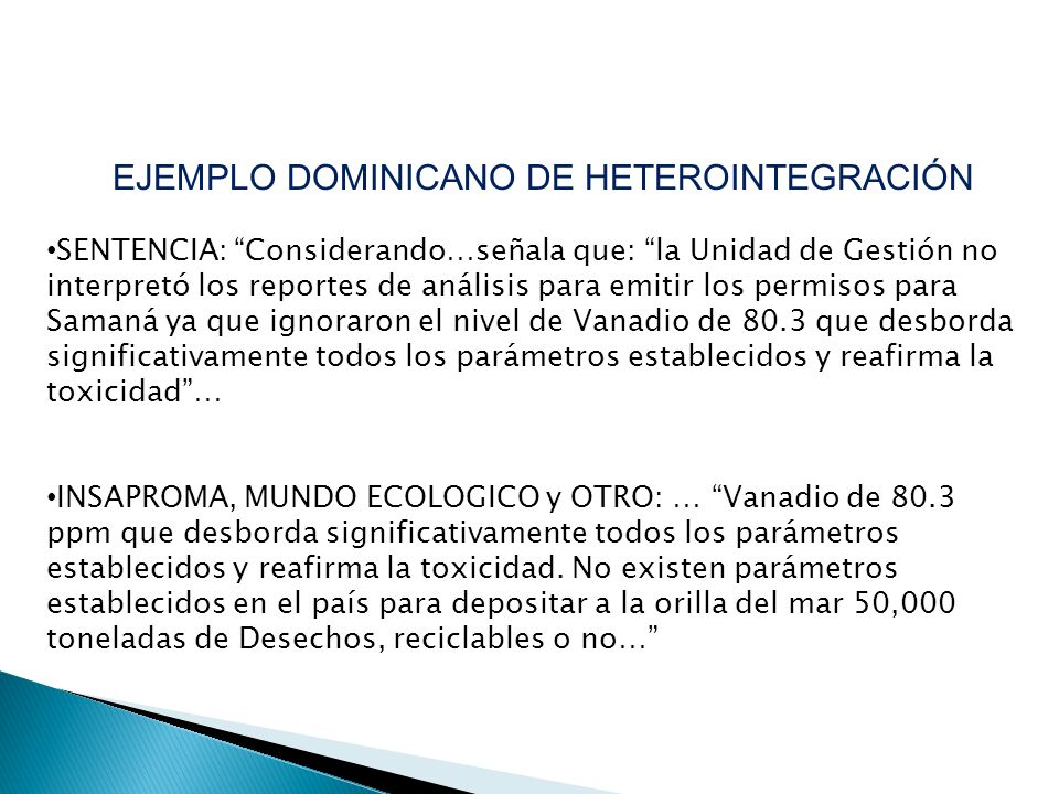 EJEMPLO DOMINICANO DE HETEROINTEGRACIÓN