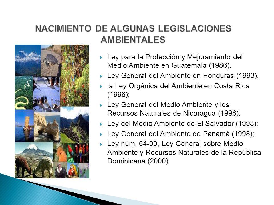 NACIMIENTO DE ALGUNAS LEGISLACIONES AMBIENTALES