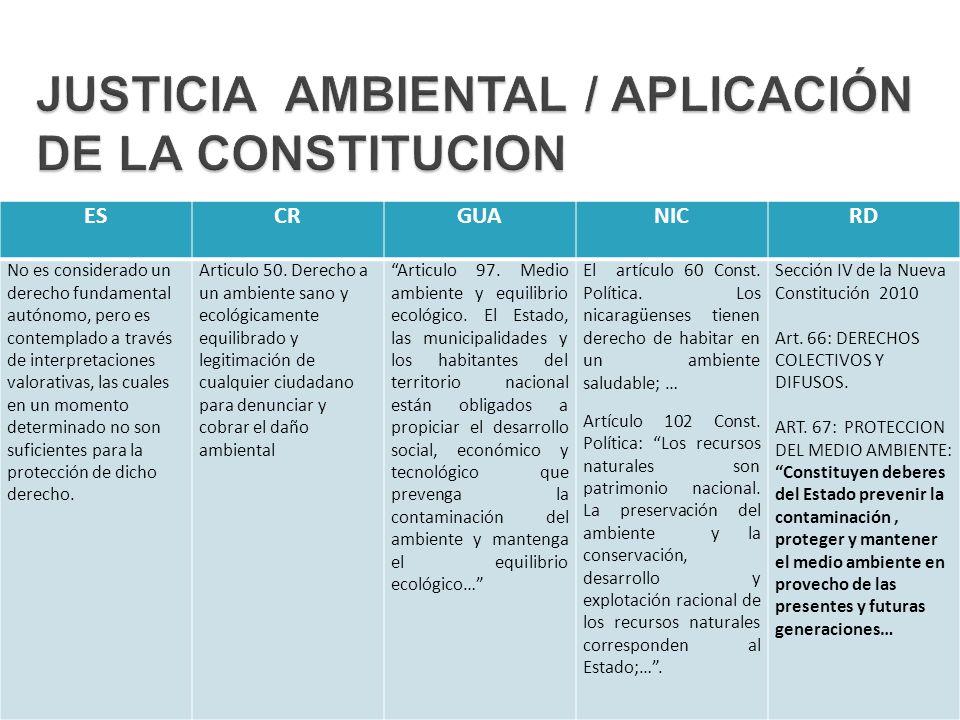 JUSTICIA AMBIENTAL / APLICACIÓN DE LA CONSTITUCION