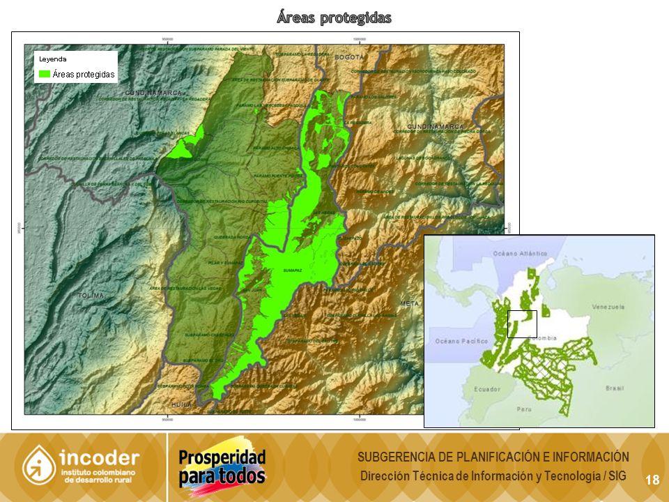 Áreas protegidas SUBGERENCIA DE PLANIFICACIÓN E INFORMACIÓN