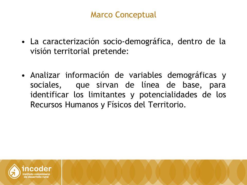 Marco Conceptual La caracterización socio-demográfica, dentro de la visión territorial pretende: