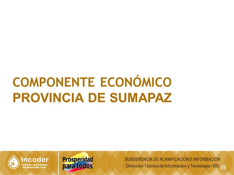 COMPONENTE ECONÓMICO PROVINCIA DE SUMAPAZ