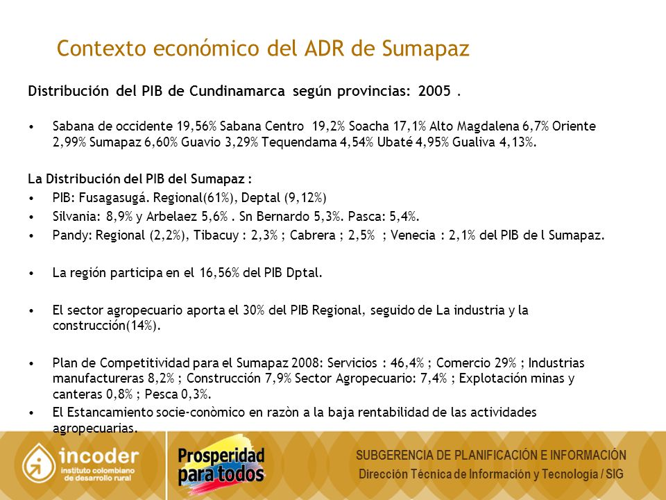 Contexto económico del ADR de Sumapaz