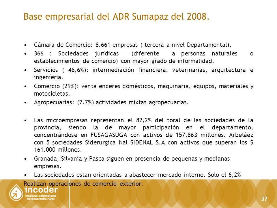 Base empresarial del ADR Sumapaz del 2008.
