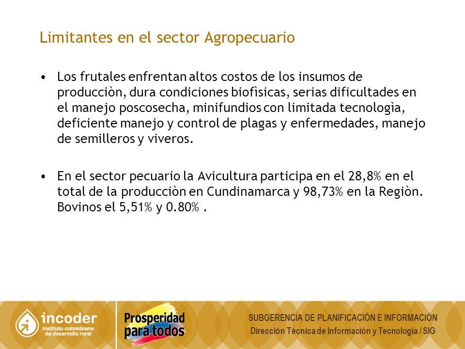 Limitantes en el sector Agropecuario