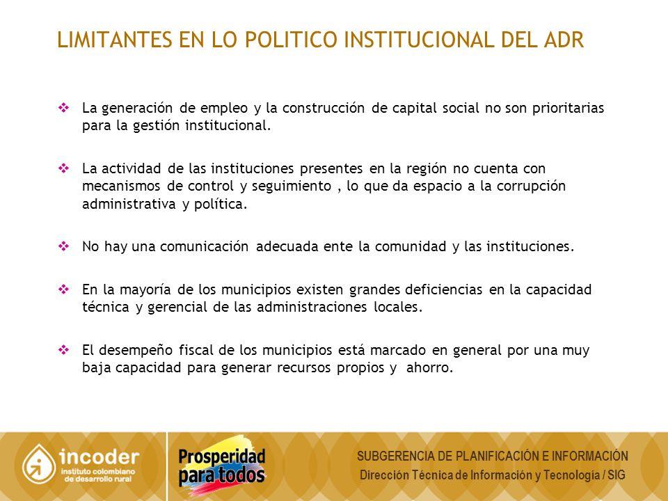 LIMITANTES EN LO POLITICO INSTITUCIONAL DEL ADR