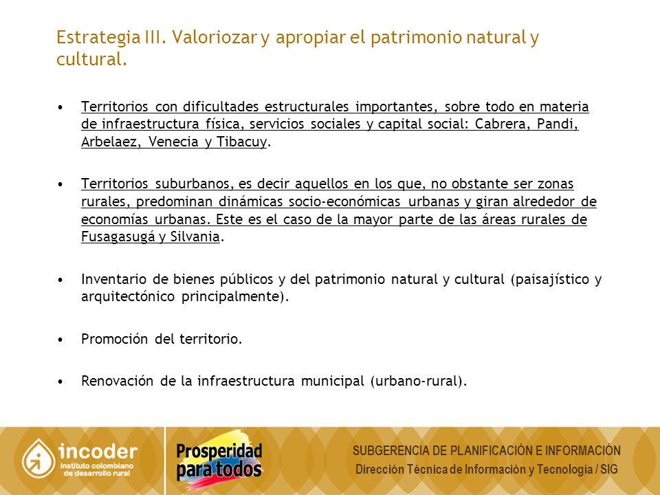 Estrategia III. Valoriozar y apropiar el patrimonio natural y cultural.