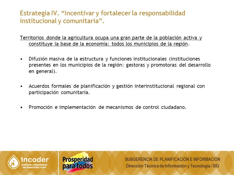 Estrategia IV. Incentivar y fortalecer la responsabilidad institucional y comunitaria .