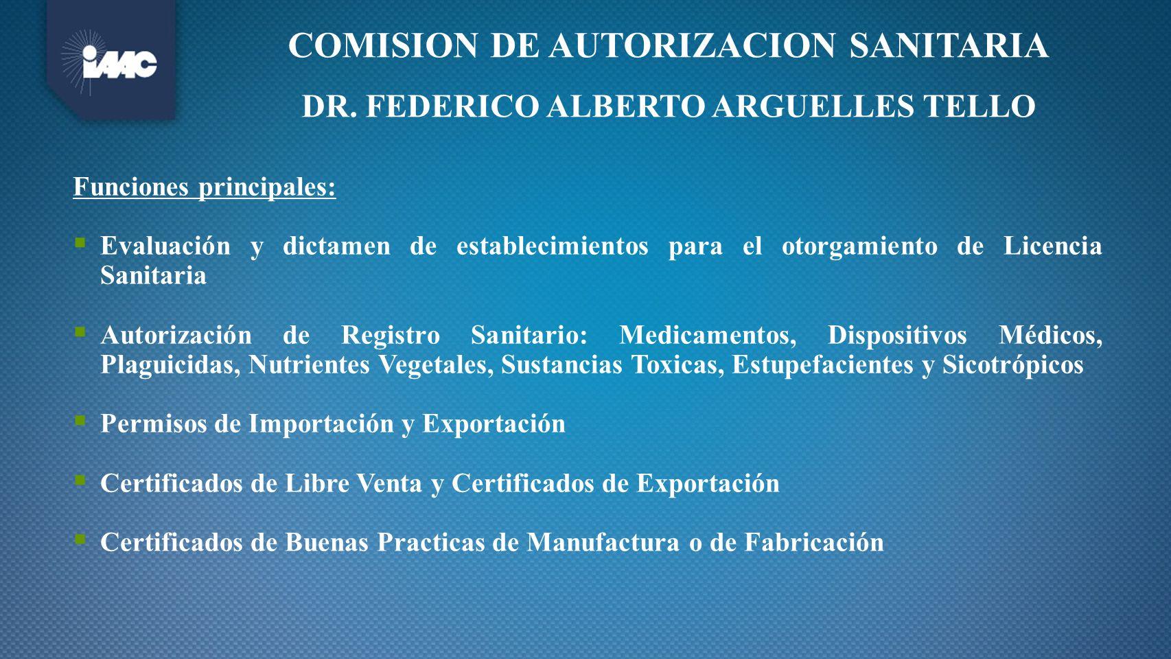 COMISION DE AUTORIZACION SANITARIA