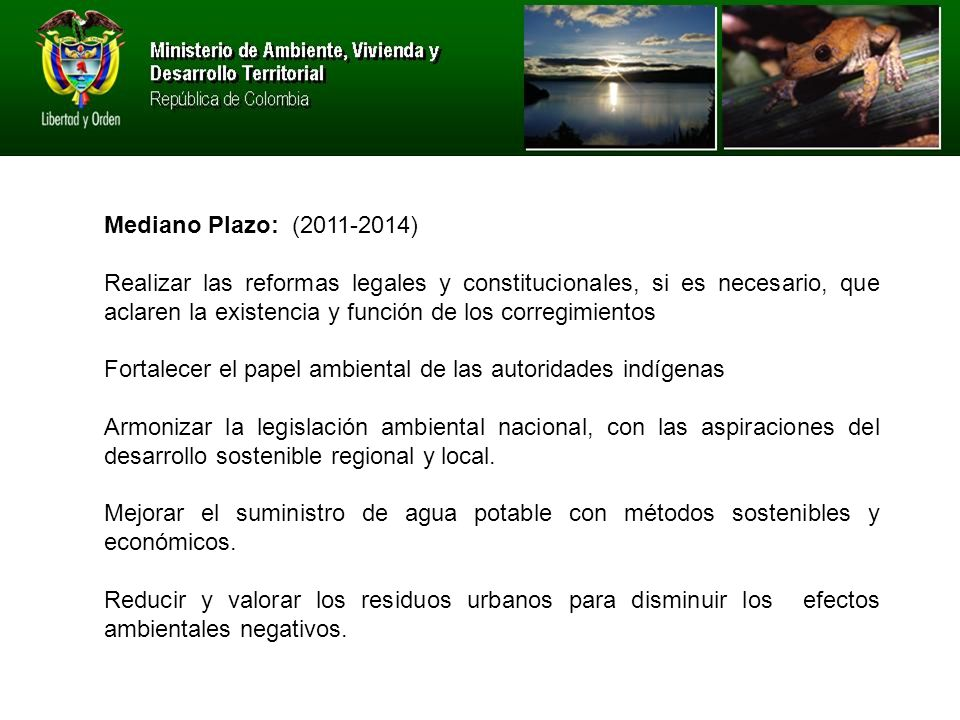 Mediano Plazo: (2011-2014)
