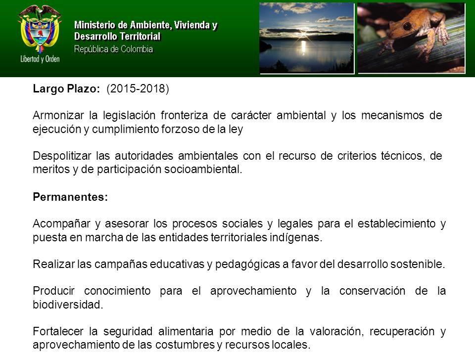 Largo Plazo: (2015-2018) Armonizar la legislación fronteriza de carácter ambiental y los mecanismos de ejecución y cumplimiento forzoso de la ley.