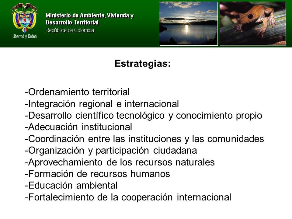 Estrategias: -Ordenamiento territorial. -Integración regional e internacional. -Desarrollo científico tecnológico y conocimiento propio.