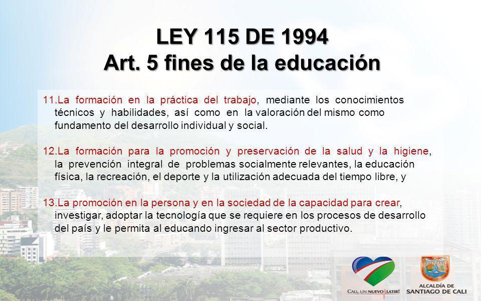 LEY 115 DE 1994 Art. 5 fines de la educación