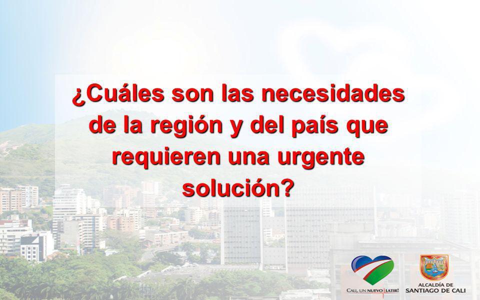 ¿Cuáles son las necesidades de la región y del país que requieren una urgente solución