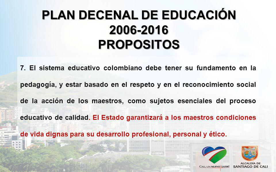 PLAN DECENAL DE EDUCACIÓN 2006-2016 PROPOSITOS