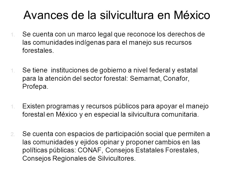 Avances de la silvicultura en México