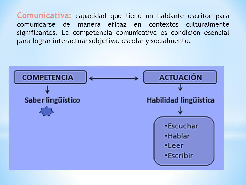 Comunicativa: capacidad que tiene un hablante escritor para comunicarse de manera eficaz en contextos culturalmente significantes.