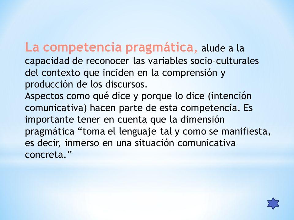 La competencia pragmática, alude a la capacidad de reconocer las variables socio–culturales del contexto que inciden en la comprensión y producción de los discursos.