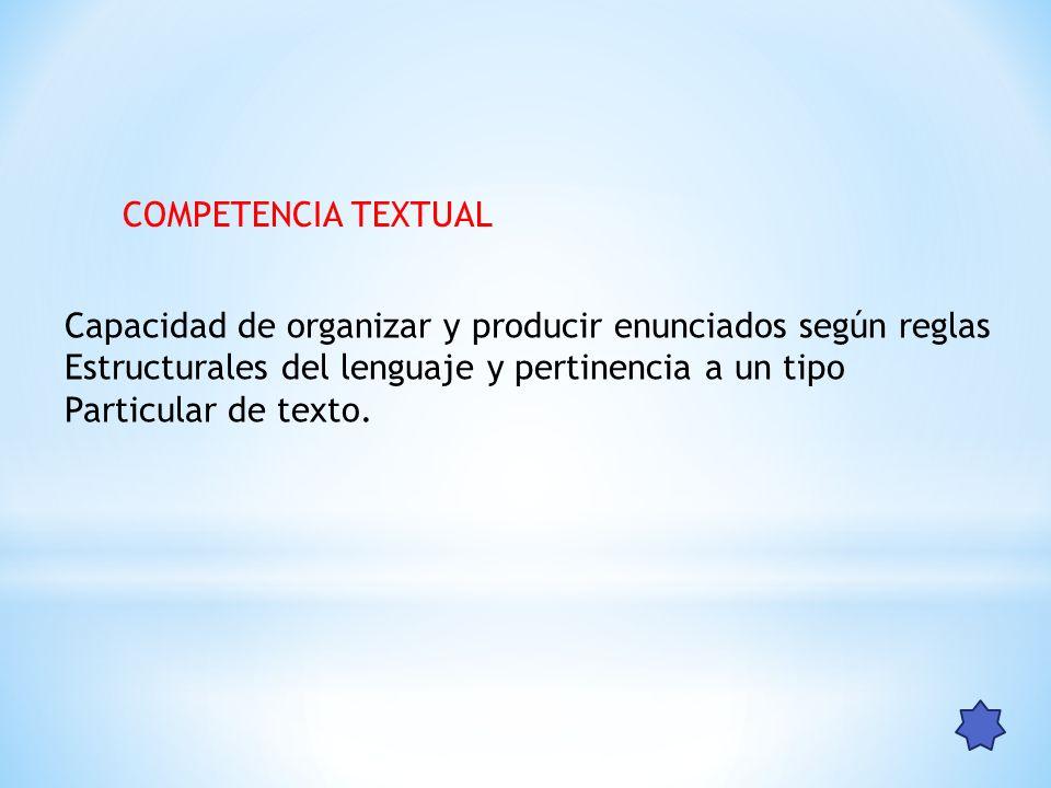 COMPETENCIA TEXTUAL Capacidad de organizar y producir enunciados según reglas. Estructurales del lenguaje y pertinencia a un tipo.