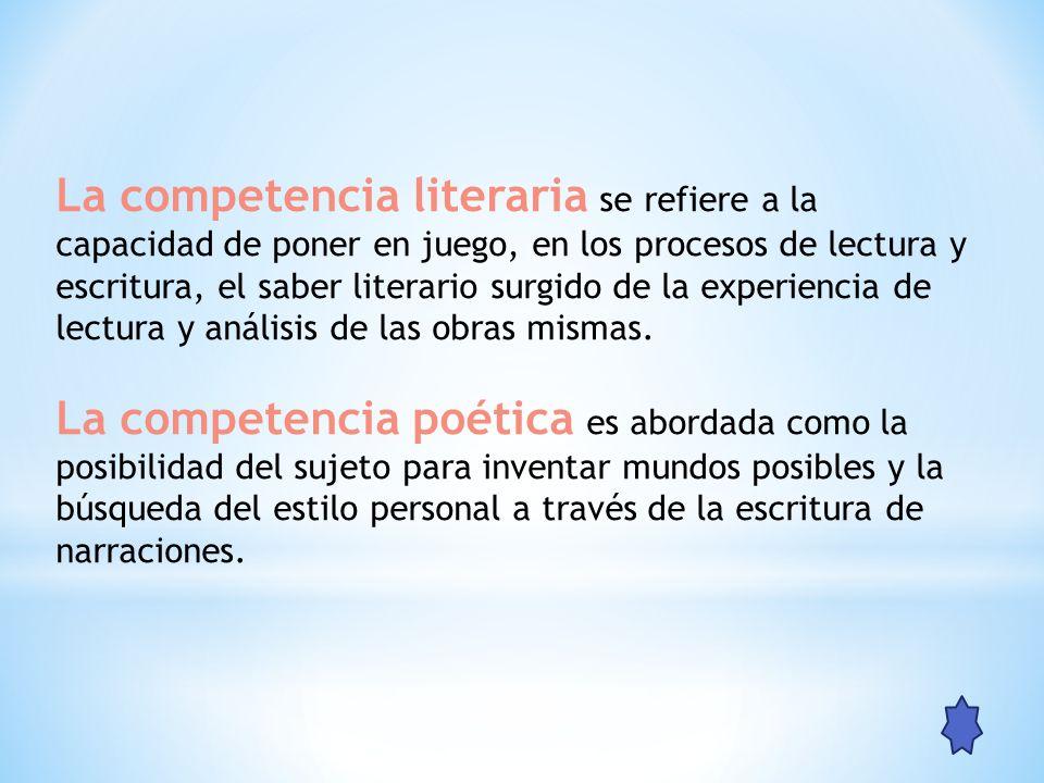 La competencia literaria se refiere a la capacidad de poner en juego, en los procesos de lectura y escritura, el saber literario surgido de la experiencia de lectura y análisis de las obras mismas.