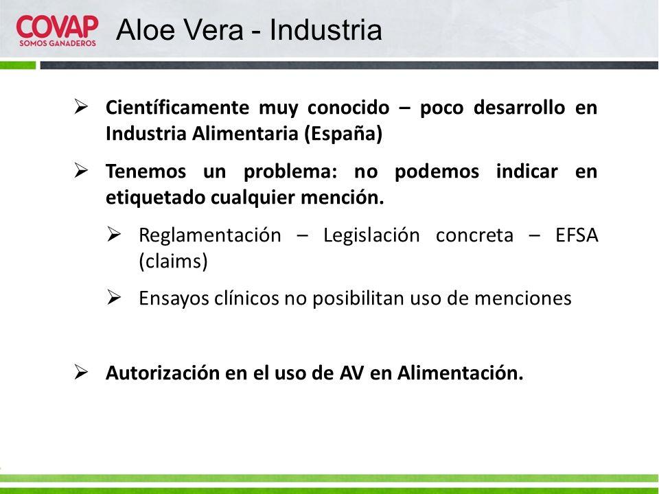 Aloe Vera - Industria Científicamente muy conocido – poco desarrollo en Industria Alimentaria (España)