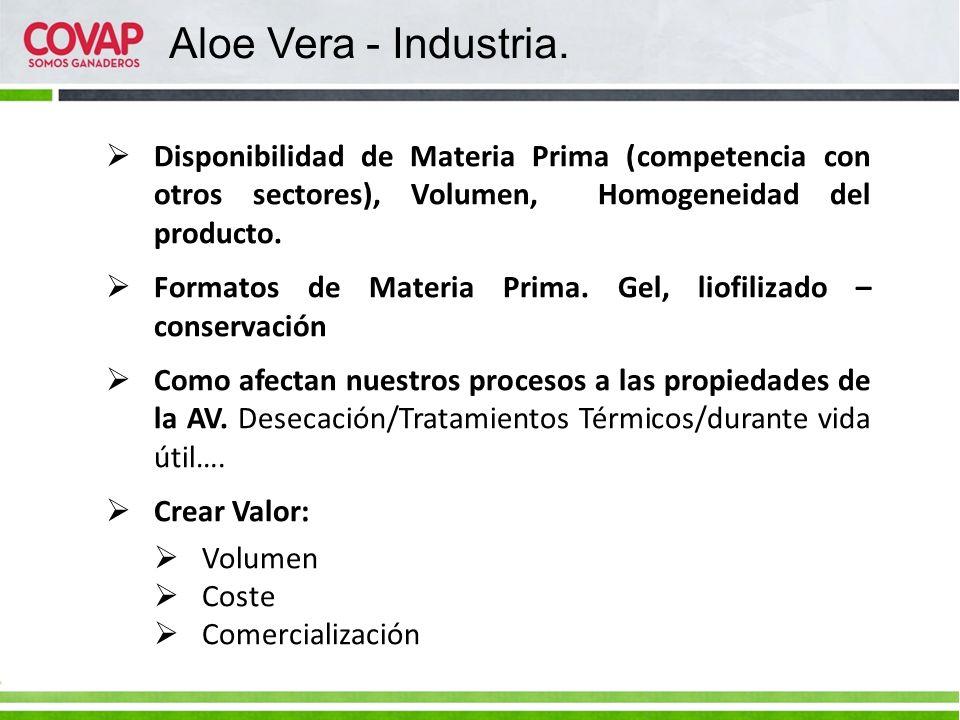 Aloe Vera - Industria. Disponibilidad de Materia Prima (competencia con otros sectores), Volumen, Homogeneidad del producto.