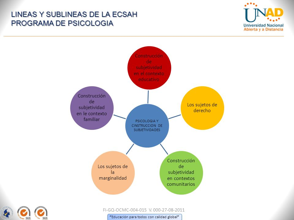 LINEAS Y SUBLINEAS DE LA ECSAH PROGRAMA DE PSICOLOGIA