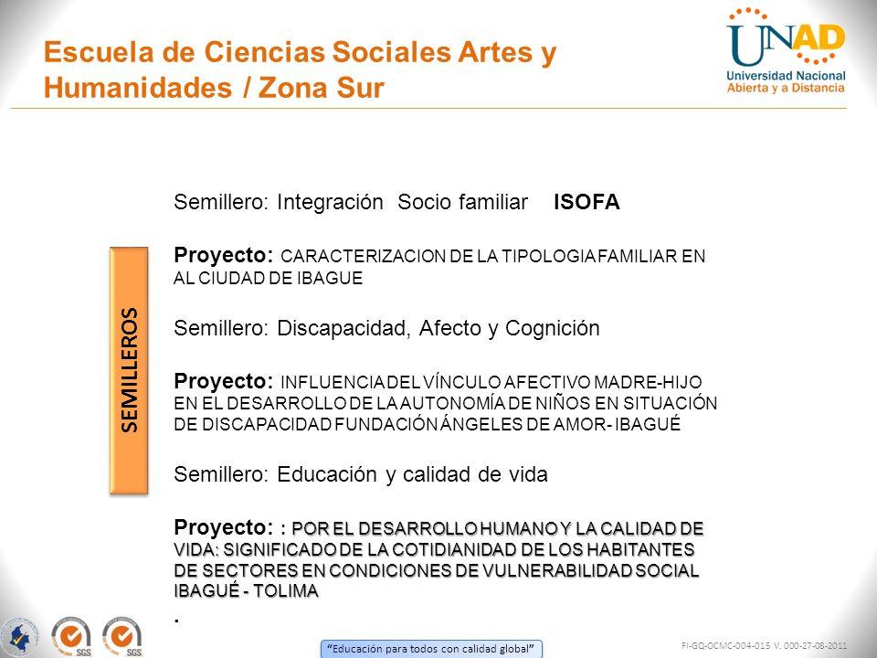 Escuela de Ciencias Sociales Artes y Humanidades / Zona Sur