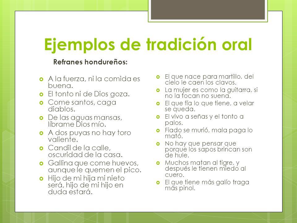 Ejemplos de tradición oral