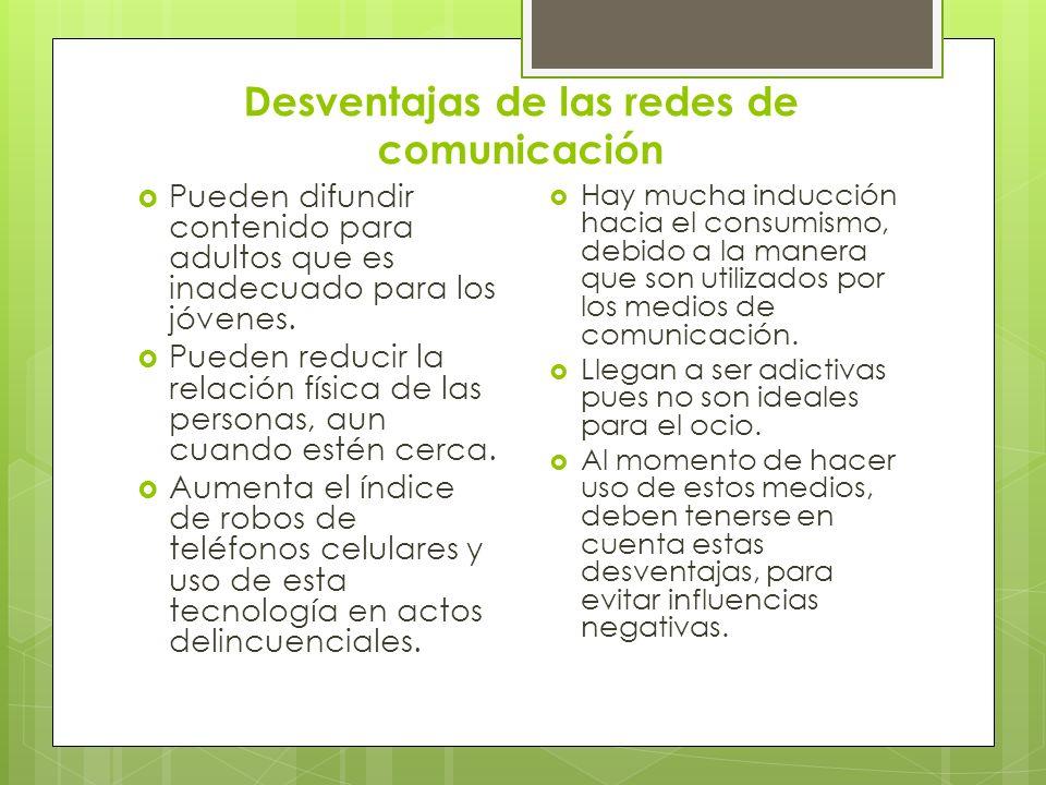 Desventajas de las redes de comunicación
