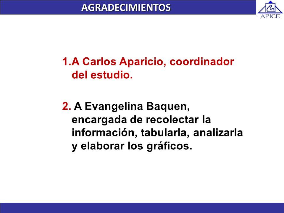 AGRADECIMIENTOS A Carlos Aparicio, coordinador del estudio.