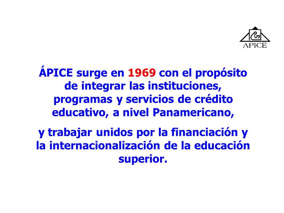 ÁPICE surge en 1969 con el propósito de integrar las instituciones, programas y servicios de crédito educativo, a nivel Panamericano,