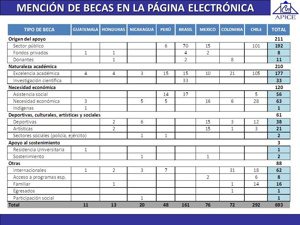 MENCIÓN DE BECAS EN LA PÁGINA ELECTRÓNICA