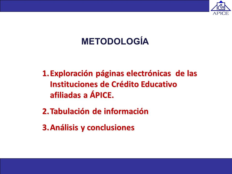METODOLOGÍAExploración páginas electrónicas de las Instituciones de Crédito Educativo afiliadas a ÁPICE.