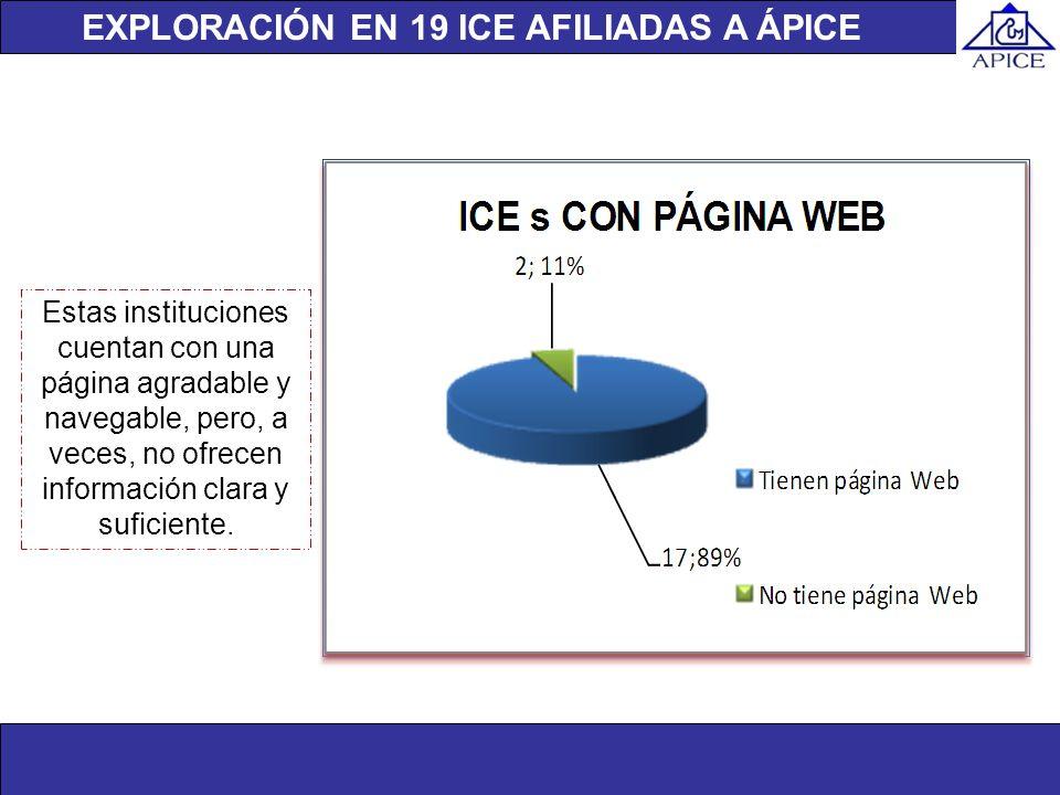 EXPLORACIÓN EN 19 ICE AFILIADAS A ÁPICE