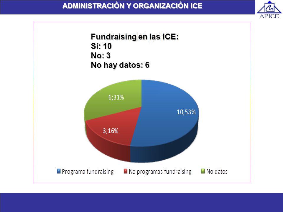 Fundraising en las ICE: Sí: 10 No: 3 No hay datos: 6