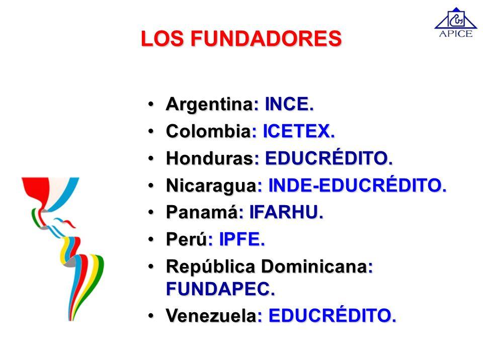 LOS FUNDADORES Argentina: INCE. Colombia: ICETEX.