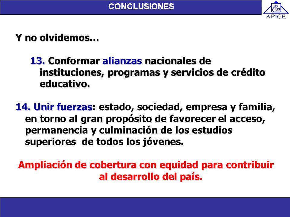 CONCLUSIONESY no olvidemos… 13. Conformar alianzas nacionales de instituciones, programas y servicios de crédito educativo.