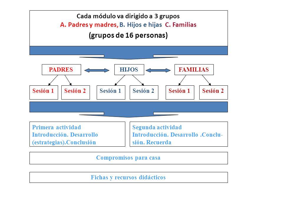 (grupos de 16 personas) Cada módulo va dirigido a 3 grupos