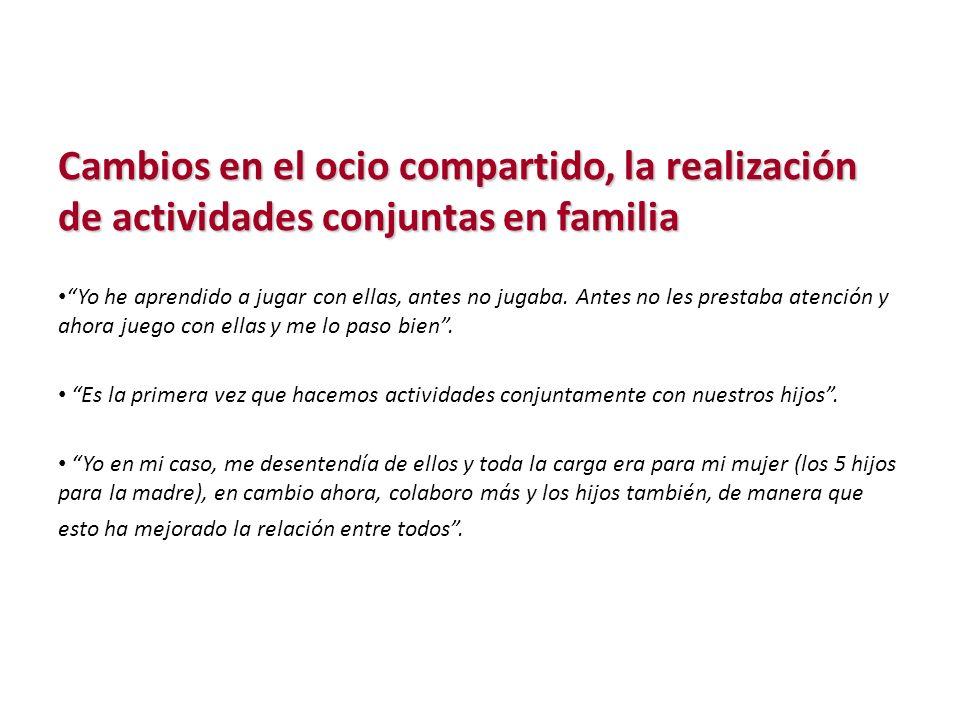 Cambios en el ocio compartido, la realización de actividades conjuntas en familia.
