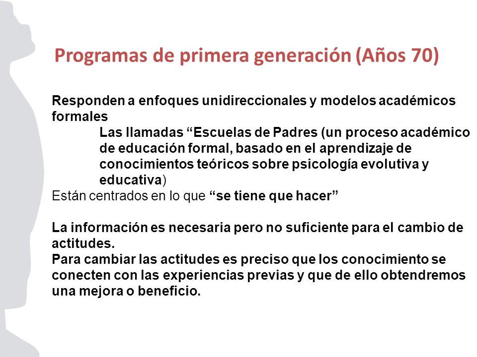 Programas de primera generación (Años 70)