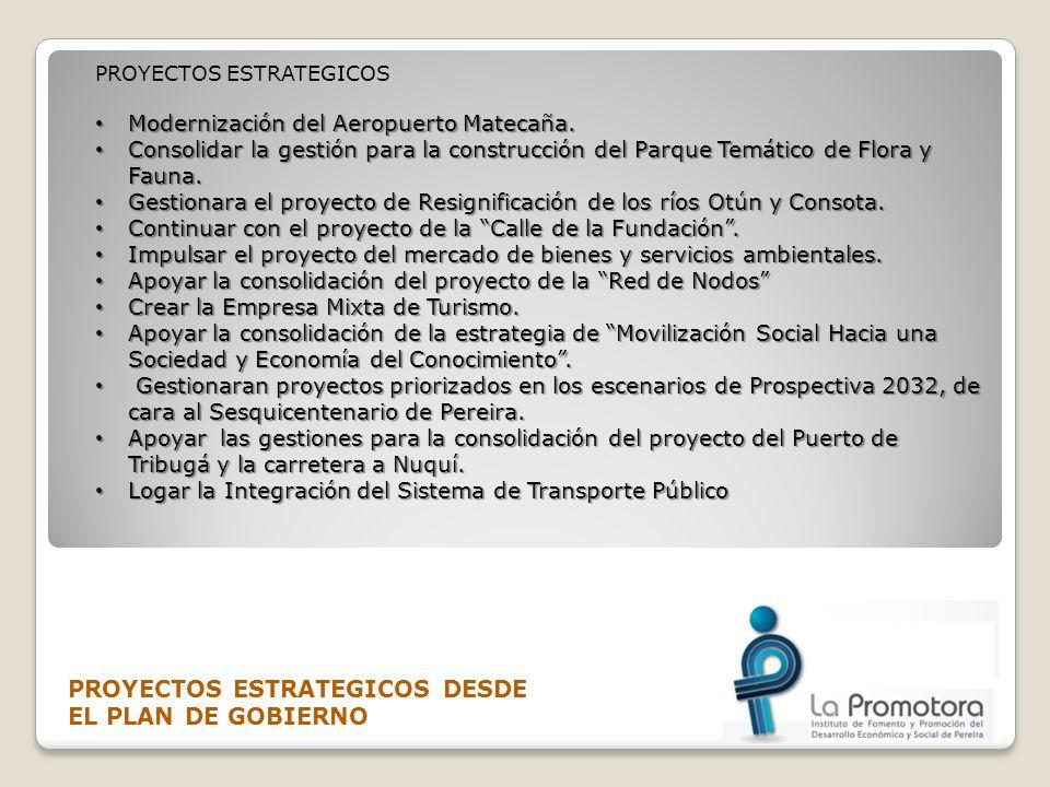 PROYECTOS ESTRATEGICOS DESDE EL PLAN DE GOBIERNO